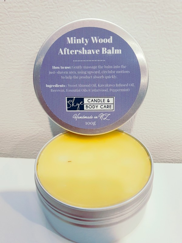Minty Wood Aftershave Balm in a Tin